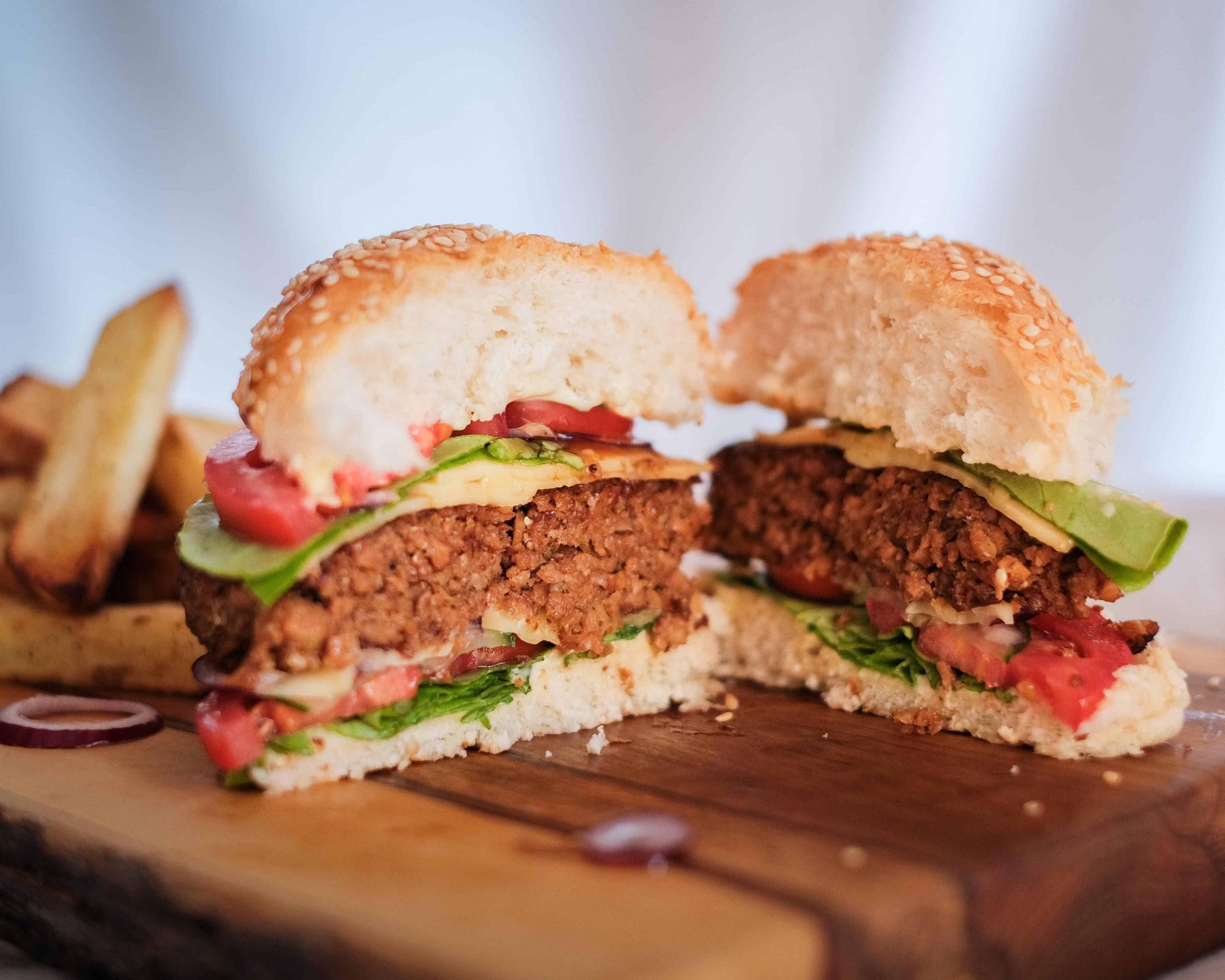 Soya Mince Hamburger cut in half.