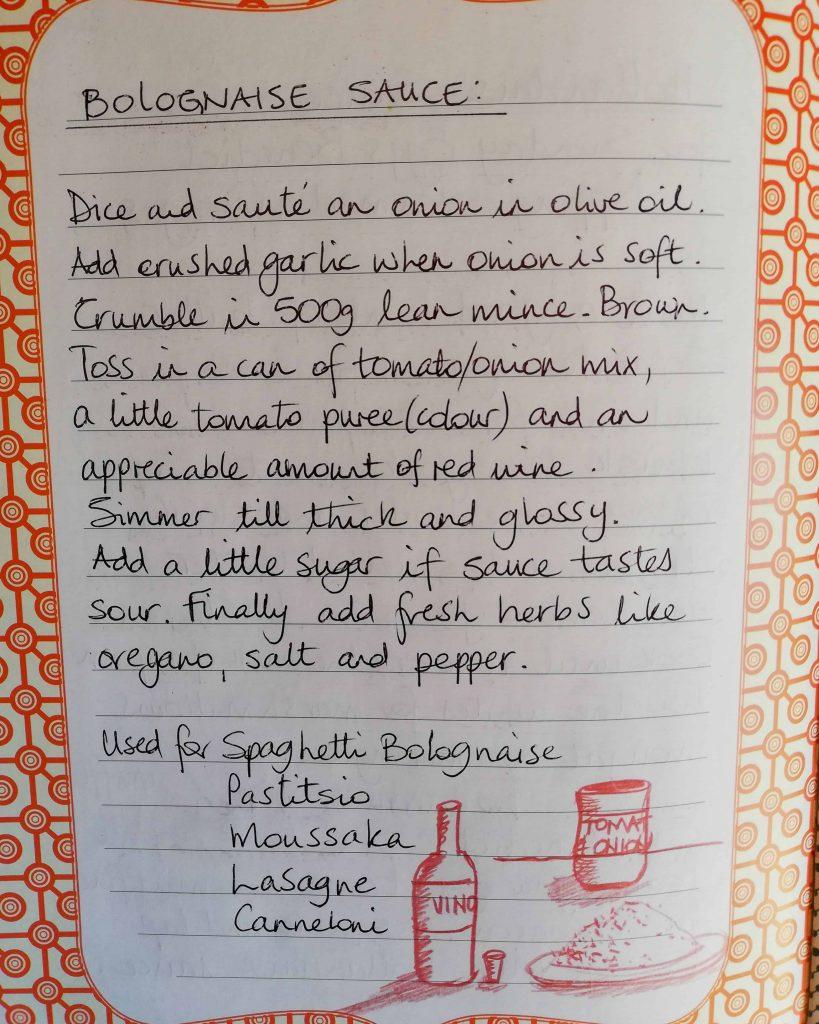 Bolognese recipe written image
