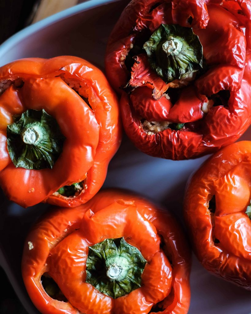 Vegan Moroccan Stuffed Peppers with Couscous image.