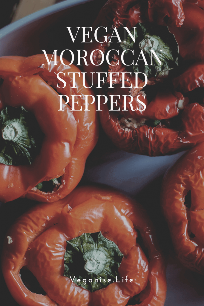 Vegan Moroccan Stuffed Peppers with Couscous pinterest image.