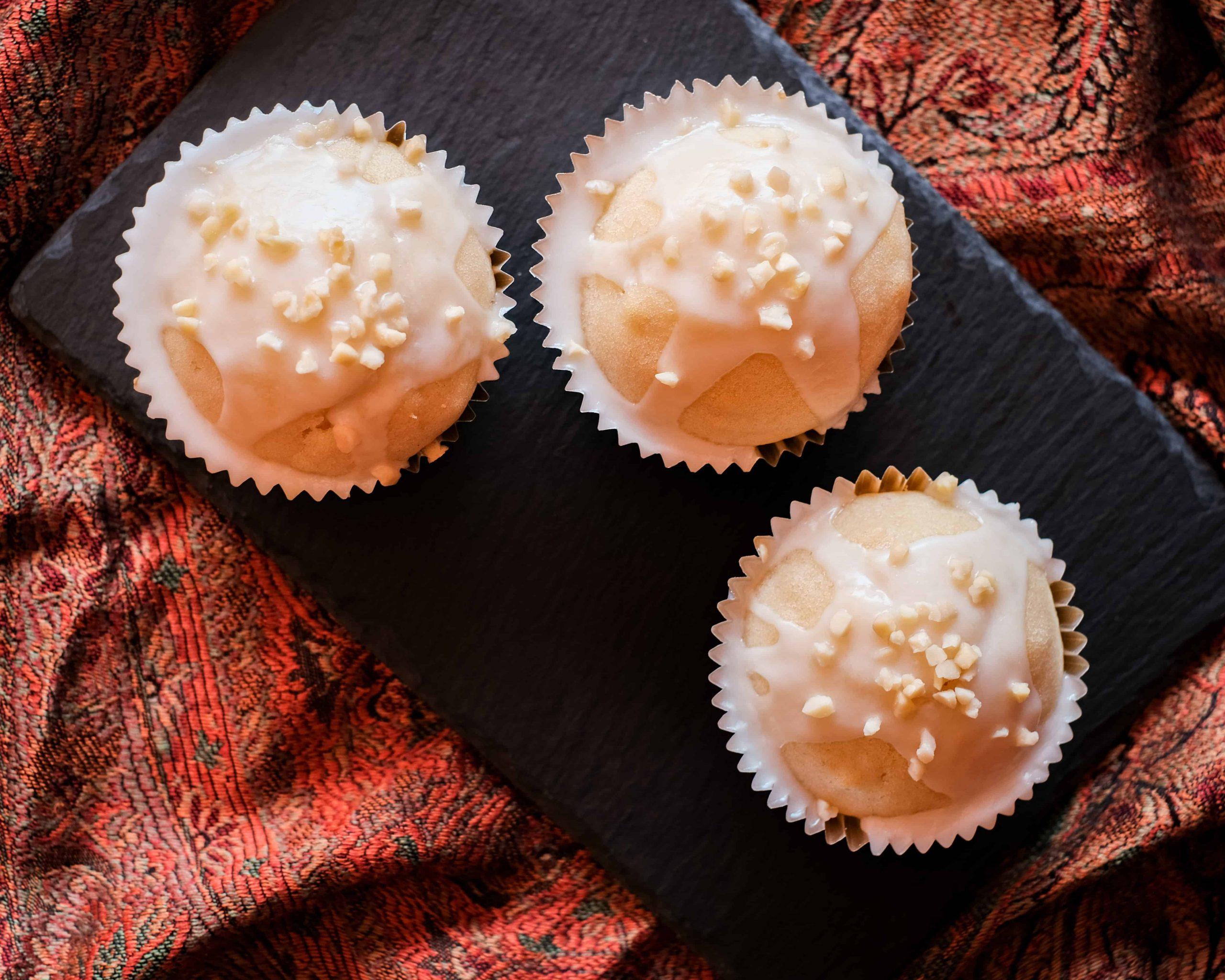 Overhead Vegan Almond Cupcakes image.