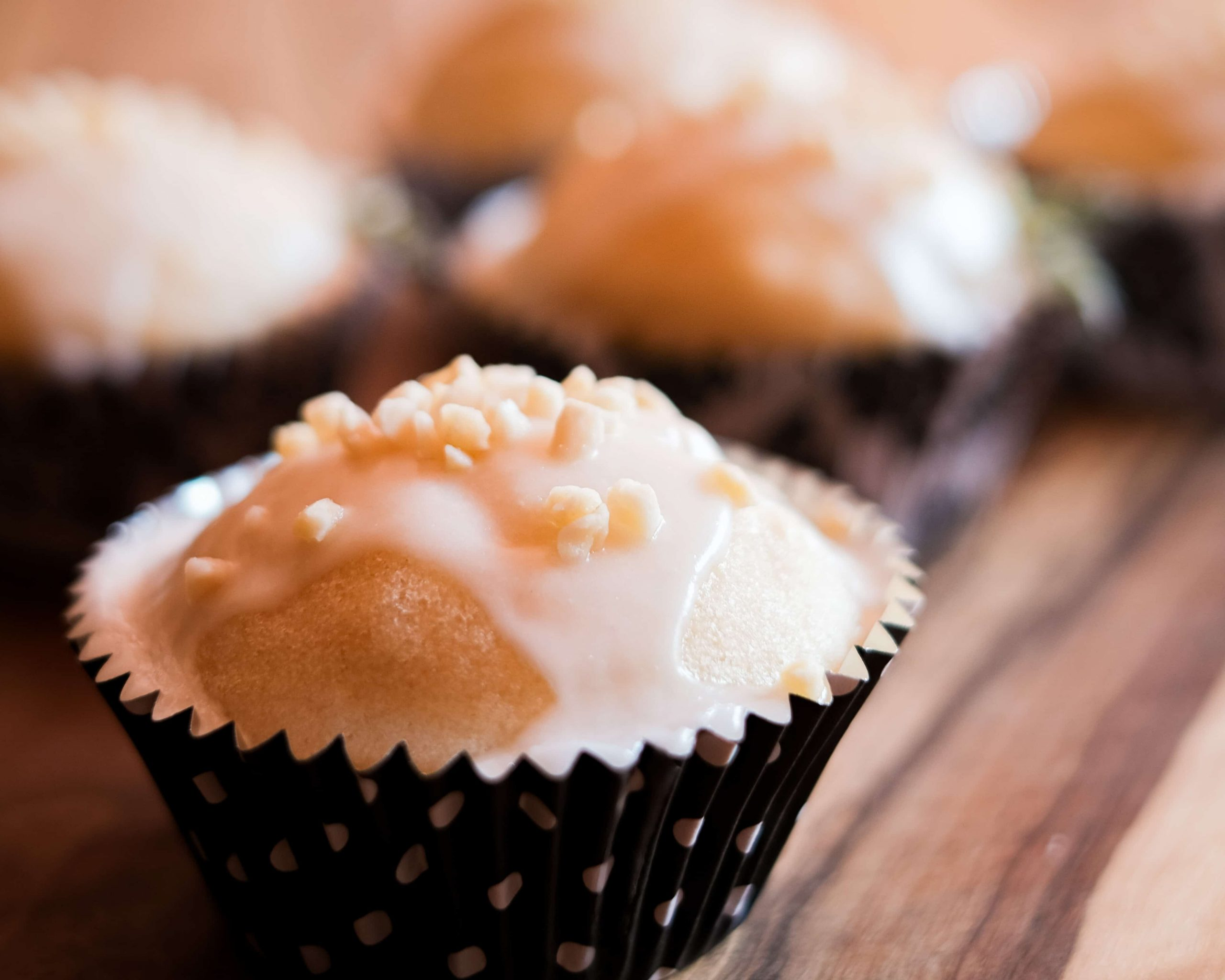 Closeup Vegan Almond Cupcake.