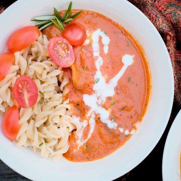 Tomato and mushroom Pasta with Coconut milk image.