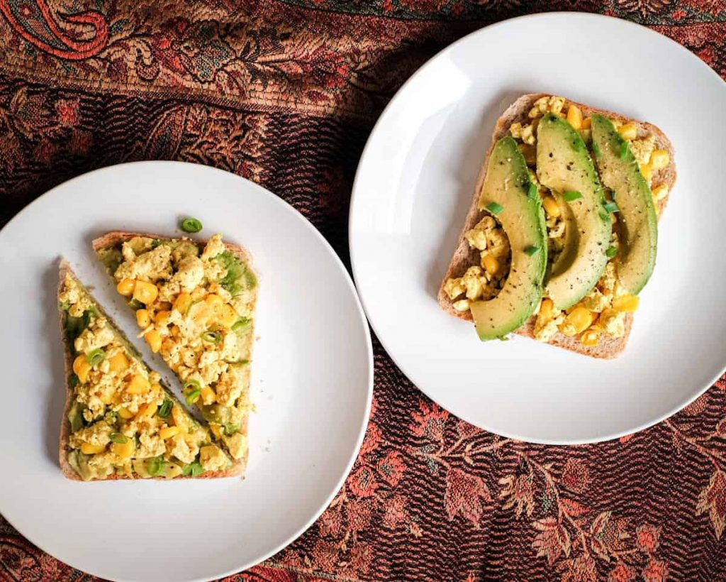 Tofu and avo toast image.