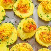 Vegan Devilled eggs image.