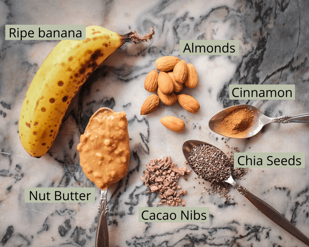 Flatlay photo of smoothie ingredients with labels.