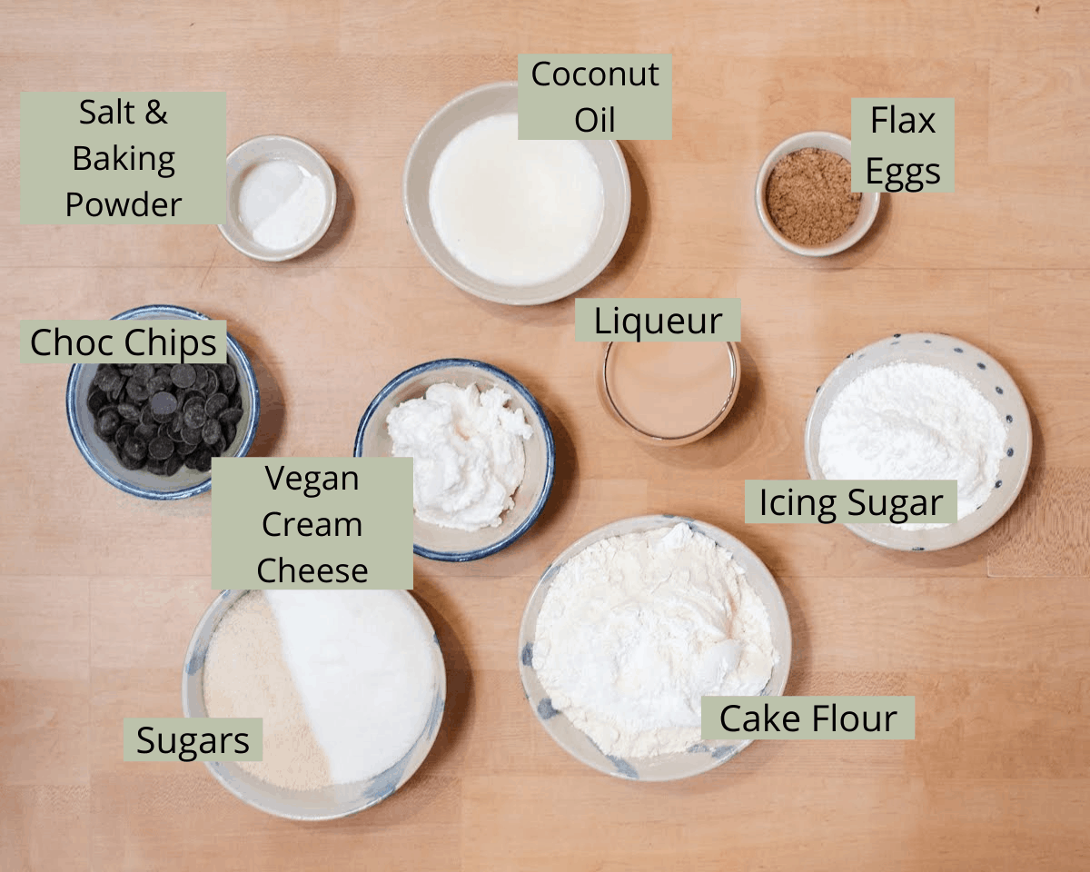 Creamy Cupcakes Ingredients with labels.