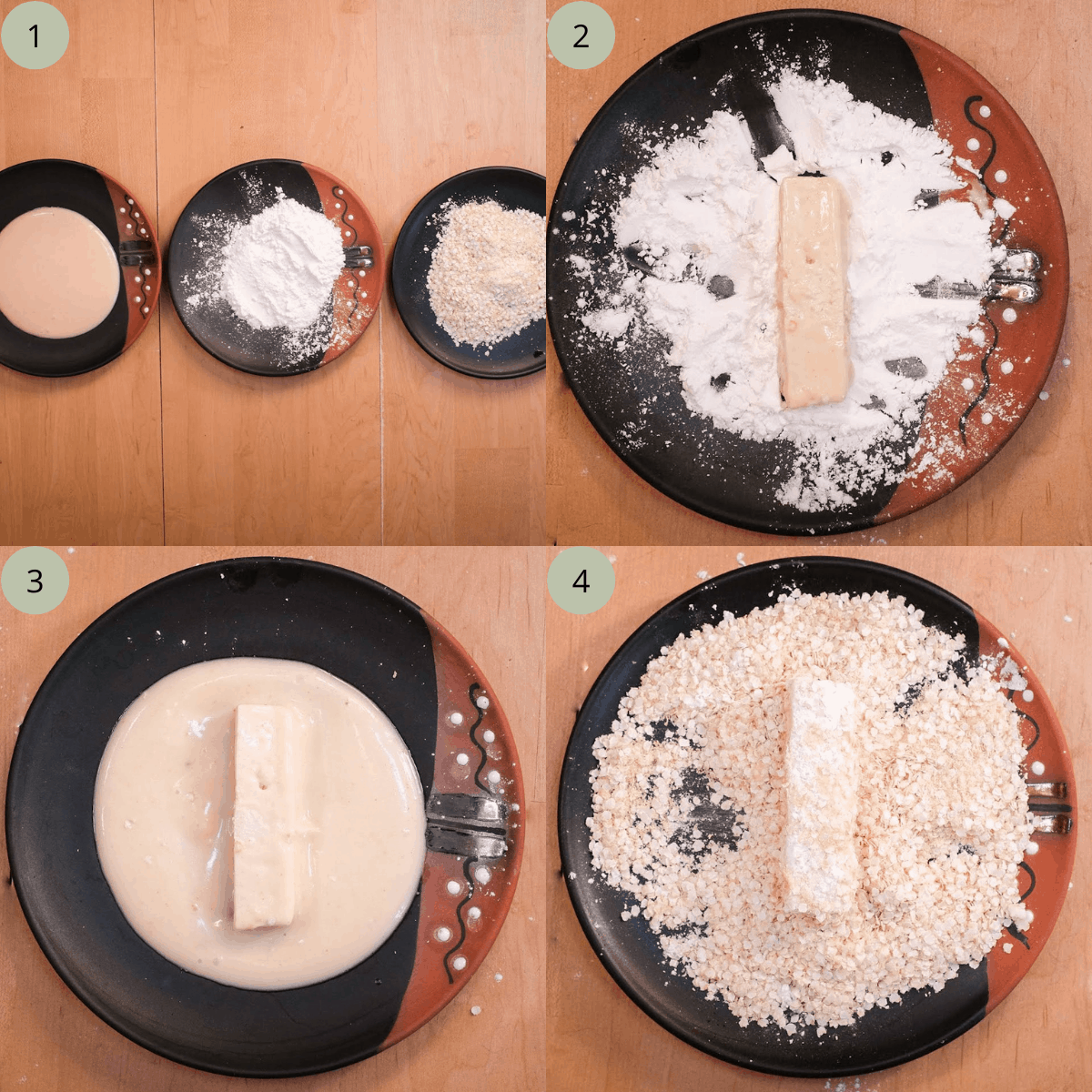 Step by step directions for coating tofu.